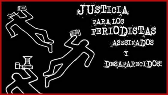 Justicia para los Periodistas asesinados y desaparecidos. Cartel del Foro organizado por el Centro de Periodismo y Ética Pública y Reporteros Sin Fronteras