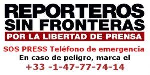 SOS PRESS Teléfono de emergencia. En caso de peligro, marca el +33 -1-47-77-74-14
